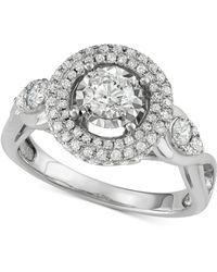Macy's - Diamond Halo Ring (1-1/7 Ct. T.w.) In 14k White Gold - Lyst