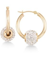 Macy's - Crystal Fireball Hoop Earrings In 10k Gold - Lyst