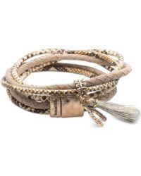 Lonna & Lilly - Gold-tone Pavé Wishbone & Tassel Magnetic Wrap Bracelet - Lyst