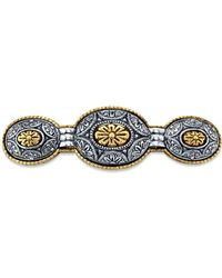 2028 - Gold-tone And Silver-tone Floral Hair Barrette - Lyst