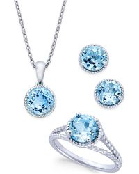 Macy's - Blue Topaz Rope-style Pendant Necklace, Stud Earrings And Ring Set (5 Ct. T.w.) In Sterling Silver - Lyst