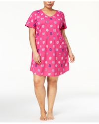 Charter Club - Plus Size Printed Cotton Sleepshirt, Created For Macy's - Lyst