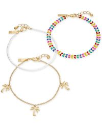 INC International Concepts - I.n.c. Gold-tone 3-pc. Set Stone, Bead & Palm Tree Ankle Bracelets, Created For Macy's - Lyst
