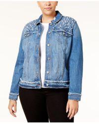 6209807916d56 INC International Concepts - Plus Size Embellished Denim Jacket - Lyst