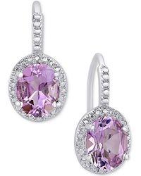 Macy's - Amethyst (2-2/5 Ct. T.w.) And Diamond Accent Drop Earrings In Sterling Silver - Lyst