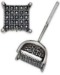 Macy's - Men's Diamond Square Cluster Stud Earrings (1/4 Ct. T.w.) In Sterling Silver - Lyst