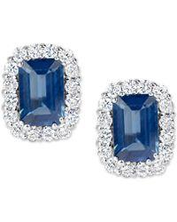 Macy's - Sapphire (1-3/8 Ct. T.w.) And Diamond (1/3 Ct. T.w.) Stud Earrings In 14k White Gold - Lyst