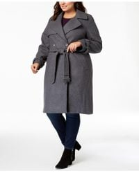 DKNY - Plus Size Double-breasted Coat, Created For Macy's - Lyst