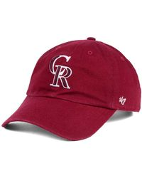 47 Brand - Colorado Rockies Cardinal And White Clean Up Cap - Lyst
