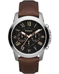 Fossil - Men's Chronograph Grant Brown Leather Strap Watch 44mm Fs4813 - Lyst