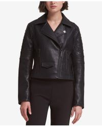 DKNY - Studded Faux-leather Moto Jacket - Lyst