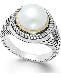 Macy's - Cultured Freshwater Pearl Rope Ring In Sterling Silver And 14k Gold (10mm) - Lyst