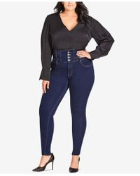 City Chic - Trendy Plus Size Harley Corset Skinny Jeans - Lyst