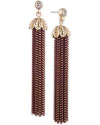 Lonna & Lilly - Two-tone Crystal & Chain Tassel Linear Drop Earrings - Lyst