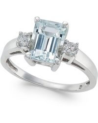 Macy's - Aquamarine (1-5/8 Ct. T.w.) & Diamond (1/5 Ct. T.w.) Ring In 14k White Gold - Lyst