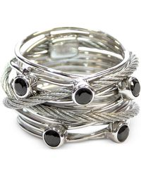 Charriol - Silver-tone Black Spinel Cable Ring - Lyst