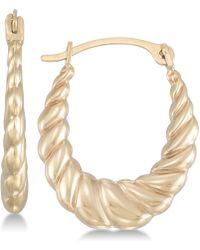 Macy's - Oval Twist-look Hoop Earrings In 10k Gold - Lyst