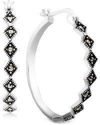 Macy's - Marcasite Medium Patterned Hoop Earrings In Fine Silver-plate - Lyst