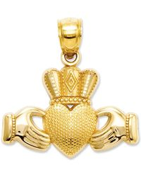 Macy's - 14k Gold Charm, Claddagh And Textured Crown Charm - Lyst