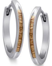 Macy's - Sterling Silver Earrings, Champagne Diamond Baguette Hoop Earrings (1/2 Ct. T.w.) - Lyst