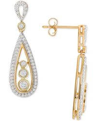 Wrapped in Love - Diamond Teardrop Drop Earrings (1/2 Ct. T.w.) In 14k Gold - Lyst