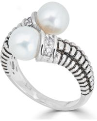 Macy's - Cultured Freshwater Pearl (7mm) & Diamond Accent Bypass Ring In Sterling Silver - Lyst