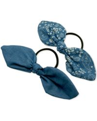 Guess - 2-pc. Set Denim Bow Ponytail Holders - Lyst