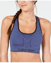 c959332494 Calvin Klein - Performance Reversible Racerback Medium-impact Sports Bra -  Lyst