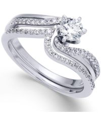 Macy's - Diamond Swirl Interlocking Bridal Set (5/8 Ct. T.w.) In 14k White Gold - Lyst