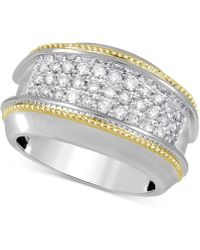 Macy's - Diamond Two-tone Cluster Ring (1 Ct. T.w.) In 10k Gold & White Gold - Lyst