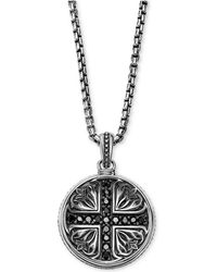 Scott Kay - Men's Black Sapphire Medallion Pendant Necklace (5/8 Ct. T.w.) In Sterling Silver - Lyst