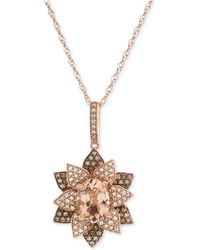"""Macy's - Morganite (1 Ct. T.w.) & Diamond (1/2 Ct. T.w.) Blooming Flower 18"""" Pendant Necklace In 14k Rose Gold - Lyst"""
