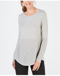 Charter Club - Mixed-knit Pleated-back Sweater, Created For Macy's - Lyst