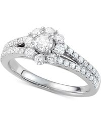 Macy's - Diamond Floral Cluster Engagement Ring (7/8 Ct. T.w.) In 14k White Gold - Lyst