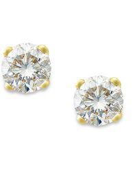 Macy's - Round-cut Diamond Stud Earrings In 10k Gold (1/10 Ct. T.w.) - Lyst