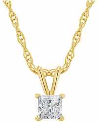 Macy's - Certified Princess Cut Diamond Solitaire Pendant Necklace (1/4 Ct. T.w.) In 14k White Gold Or Yellow Gold - Lyst
