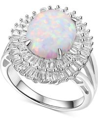 Macy's - Cubic Zirconia & Lab Created Opal (7 Ct. T.w.) Halo Ring In Sterling Silver - Lyst