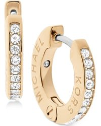 Michael Kors - Pavé Engraved Hoop Earrings - Lyst