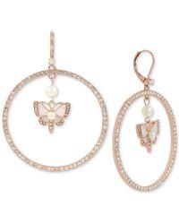 Betsey Johnson - Rose Gold-tone Crystal & Imitation Pearl Butterfly Drop Hoop Earrings - Lyst