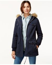 Levi's | Hooded Faux-fur Sherpa-lined Jacket | Lyst