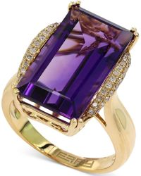 Effy Collection - Amethyst (9-5/8 Ct. T.w.) And Diamond (1/6 Ct. T.w.) Ring In 14k Gold - Lyst