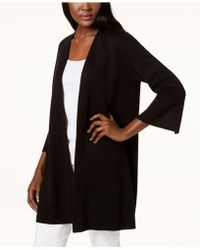 Eileen Fisher - Open-front 3/4-sleeve Cardigan - Lyst