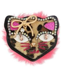 Betsey Johnson - Gold-tone Multi-stone Faux Fur Cat Pin - Lyst