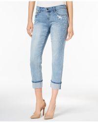 Earl Jean - Pearl Embellished Boyfriend Jeans - Lyst