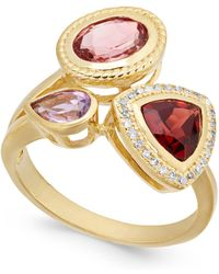 Macy's - Multi-gemstone (2-1/8 Ct. T.w.) & Diamond (1/10 Ct. T.w.) Ring In 14k Gold-plated Sterling Silver - Lyst