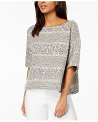 Eileen Fisher - Organic Cotton Textured Stripe Boat-neck Top - Lyst