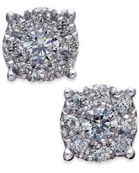Macy's - Diamond Cluster Stud Earrings (1/2 Ct. T.w.) In 14k White Gold - Lyst