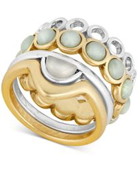 Lucky Brand - Two-tone 4-pc. Set Stone & Patterned Stacking Rings - Lyst