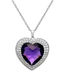 Macy's | Amethyst (7-1/3 Ct. T.w.) And White Topaz (5/8 Ct. T.w.) Heart Pendant Necklace In Sterling Silver | Lyst