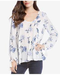 Karen Kane - Floral-print Tie-sleeve Top - Lyst